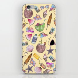 Summer Cute Girly Beach Collage on Yellow iPhone Skin