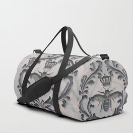 Pink and Gray Vintage Damask French Bee Duffle Bag