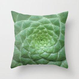 Green Spiral Botanical Throw Pillow