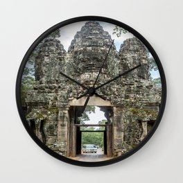 Leaving Through the Angkor Thom South Gate, Siem Reap, Cambodia Wall Clock