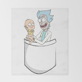 Rick Holding Baby / Clone Morty Throw Blanket