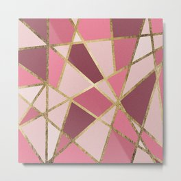 Girly Chic Pink & Burgundy Geo Gold Triangles Metal Print