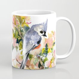 Titmouse Bird and Spring Blossom, floral pink green spring colors Coffee Mug