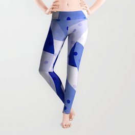 Polka Dots Blue Geometric Design Leggings