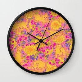 Cat Bouquet yellow orange Wall Clock