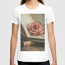 Still life with pink rose and old books T-shirt