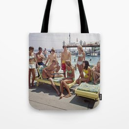 1960's teenagers playing guitar and singing by the Gondolier Motel pool, Wildwood, NJ Tote Bag