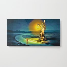 The Guiding Light, magical realism river landscape painting Metal Print