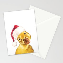 Christmas yellow duckling Stationery Cards
