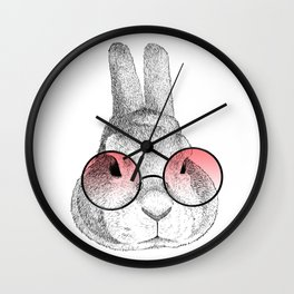 rabbit's glasses Wall Clock