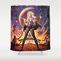 tim burton Shower Curtains featuring Barbarella Tim Hildebrandt by Cult Posters