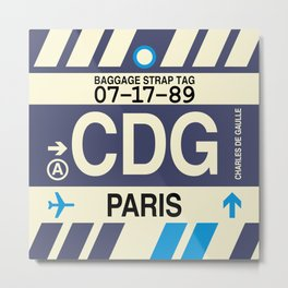 CDG Paris • Airport Code and Vintage Baggage Tag Design Metal Print
