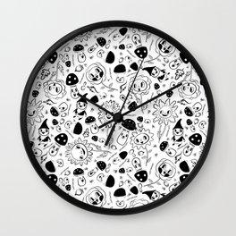 gnomes black and white Wall Clock