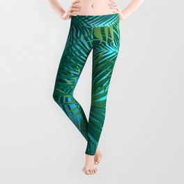 Tropical Palm Tree Leaves Branches on Blue Sky Summer Collection Leggings