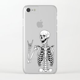 Rock and Roll Skeleton Clear iPhone Case