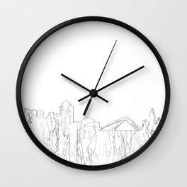 Coventry, UK Skyline B&W - Thin line Wall Clock
