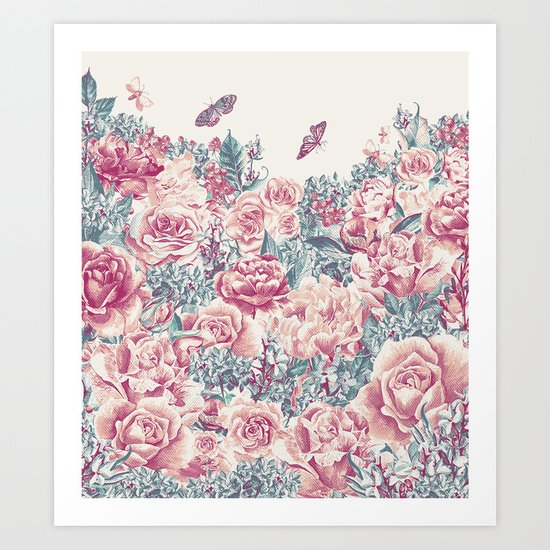 Vintage Garden 21 (Misty Mornings) Art Print