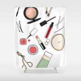 Beauty Routine Shower Curtain