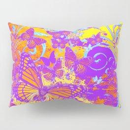 Purple Monarch  Butterflies  Surrealism Yellow Art Pillow Sham