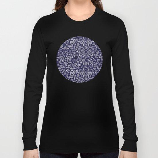 Chalkboard Floral Doodle Pattern in Navy & Cream Long Sleeve T-shirt