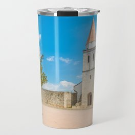 Square of the Glagolitic Monks with Church of St Francis, Town of Krk on the island of Krk, Croatia Travel Mug