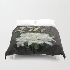 White Flowers on Rustic Table Duvet Cover