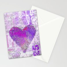 Pink heart mixed media art Stationery Cards