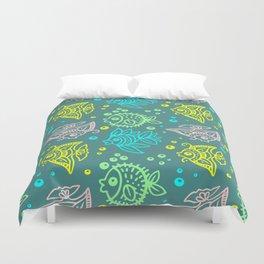 Fishes Batik Style Seamless Pattern Duvet Cover
