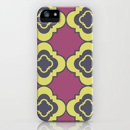 Quatrefoil - mauve, blue and yellow iPhone Case
