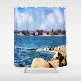 New England Shoreline - Painterly Shower Curtain