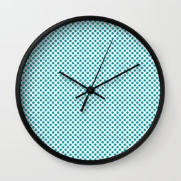 Peacock Blue Polka Dots Wall Clock