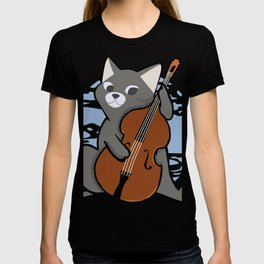 Upright Bass Playing Cool Jazz Cat T-Shit For Bopping Musos T-shirt