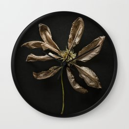 Dried Clematis Flower Wall Clock