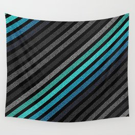 stripeS : Slate Gray Teal Blue Pixels Wall Tapestry