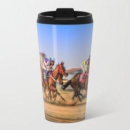 horses racing Travel Mug
