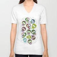 sugar skulls V-neck T-shirts featuring Sugar Skulls Pattern by BluedarkArt