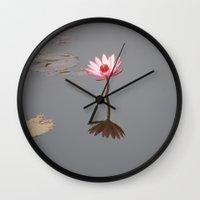 buddhism Wall Clocks featuring One Lotos by Maria Heyens