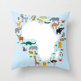 Animal Africa: parrot Hyena Rhinoceros Zebra Hippopotamus Crocodile Turtle Elephant Mamba snake Throw Pillow