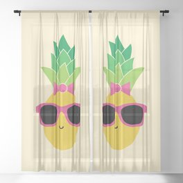 Lady Pineapple with Pink Sunglasses and Bow Sheer Curtain