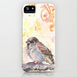 Sparrow in a Damask Autumn iPhone Case