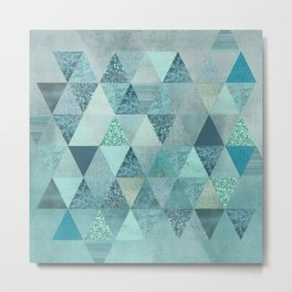 Glamorous Blue Glitter And Foil Triangles Metal Print