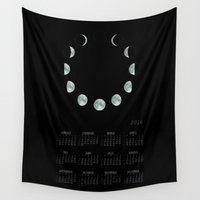 moon phases Wall Tapestries featuring Moon Phases 2016 Calendar by ShaMiLa