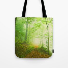 Along the undiscovered path  ( calm green lush forest) Tote Bag