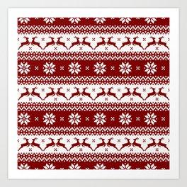Dark Christmas Candy Apple Red Nordic Reindeer Stripe Art Print