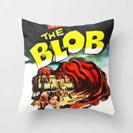 The Blob, Vintage Sci-Fi Horror Movie Poster Throw Pillow