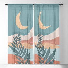 Moonlit Mediterranean / Maximal Mountain Landscape Sheer Curtain