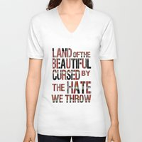 the national V-neck T-shirts featuring National Anthem by Veronica Rogers