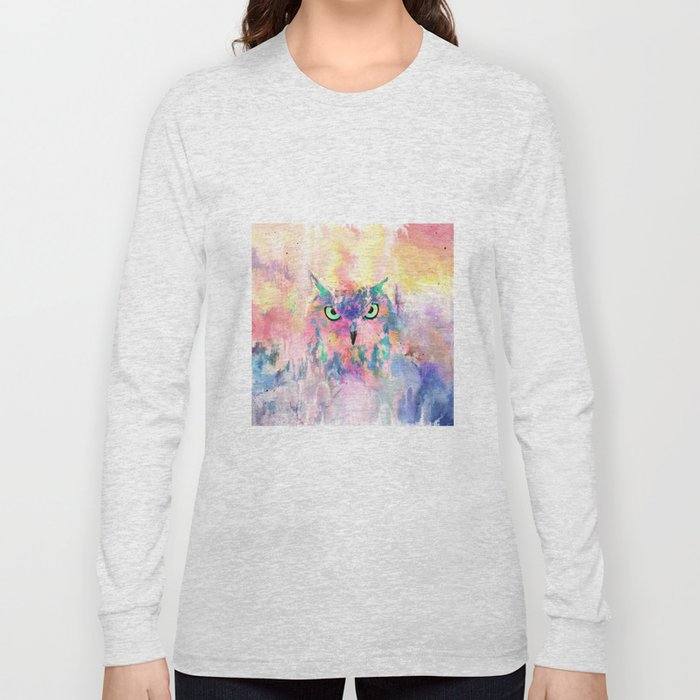 Watercolor eagle owl abstract paint Long Sleeve T-shirt