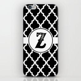 Black Monogram: Letter Z iPhone Skin