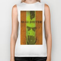 taxi driver Biker Tanks featuring Taxi Driver by Joe Ganech